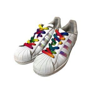 Adidas Rainbow Iridescent Three Stripe Sneakers